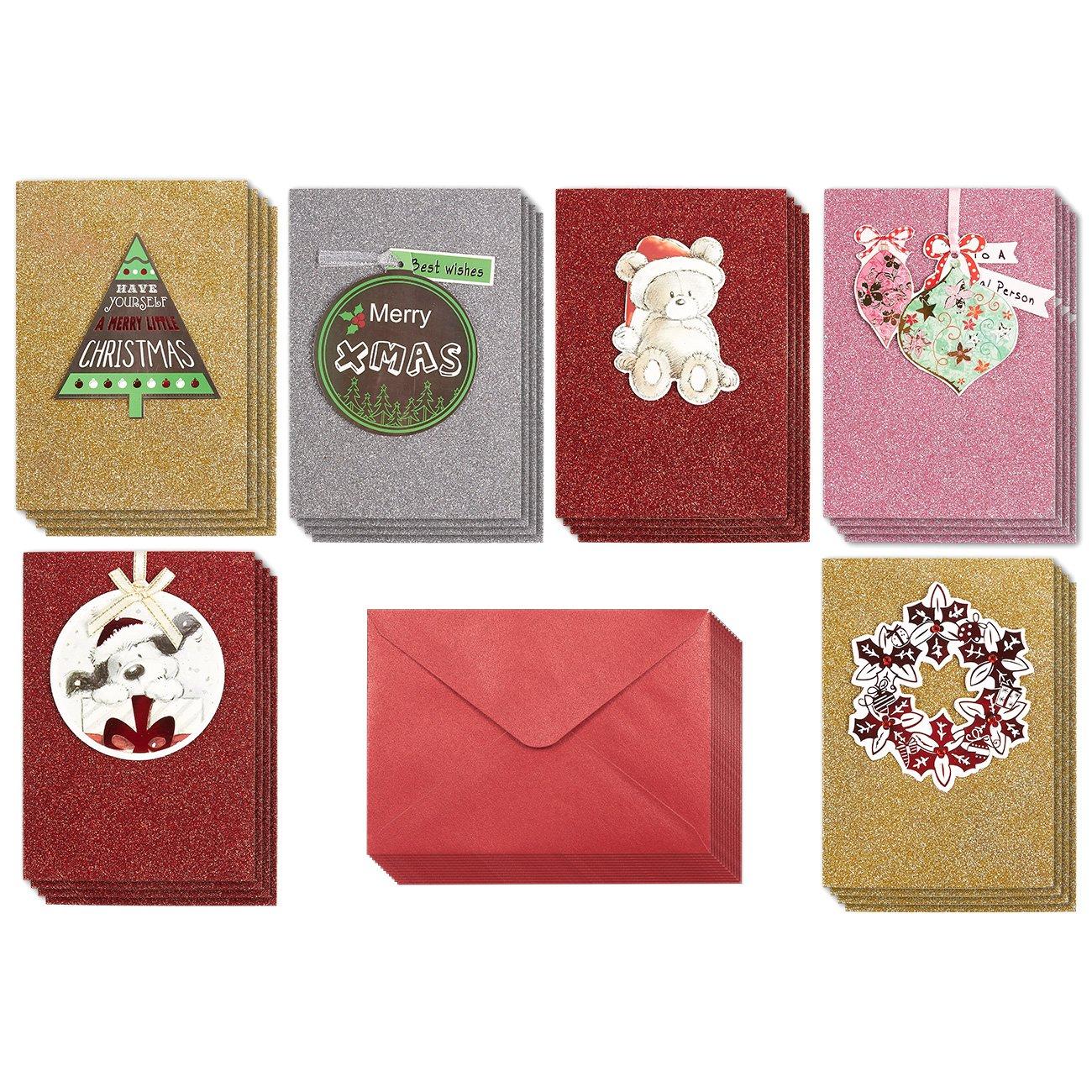 Amazon Com Set Of 24 Handmade Christmas Greetings Cards Bulk