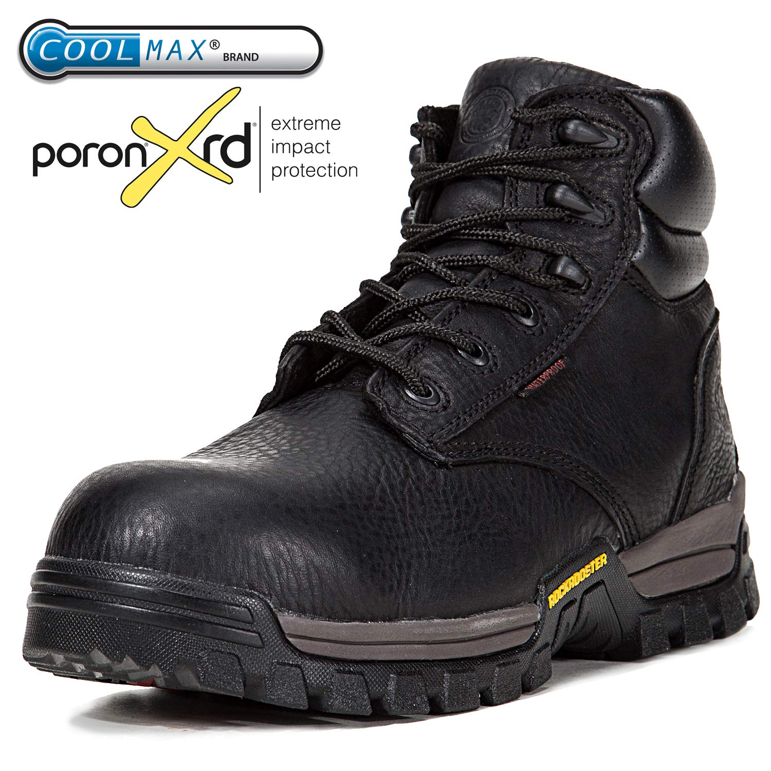 615418ea4fd ROCKROOSTER Men's Work Boots, Waterproof Hiking Boot, Safety Shoes  (AT697Pro, US 8, Black