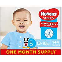 Huggies Ultra Dry Nappies, Boys, Size 5 Walker (13-18kg), 144 Count, One-Month Supply, (Packaging May Vary)