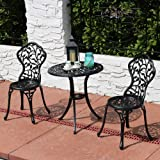 Sunnydaze 3-Piece Black Outdoor Cast Aluminum Patio Bistro Set