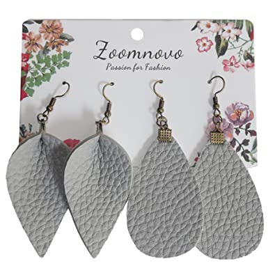 db7ac0489c4dde Grey Faux Leather Earrings Teardrop Leather Earrings Leaf Shape Gray Leather  Earrings for Women