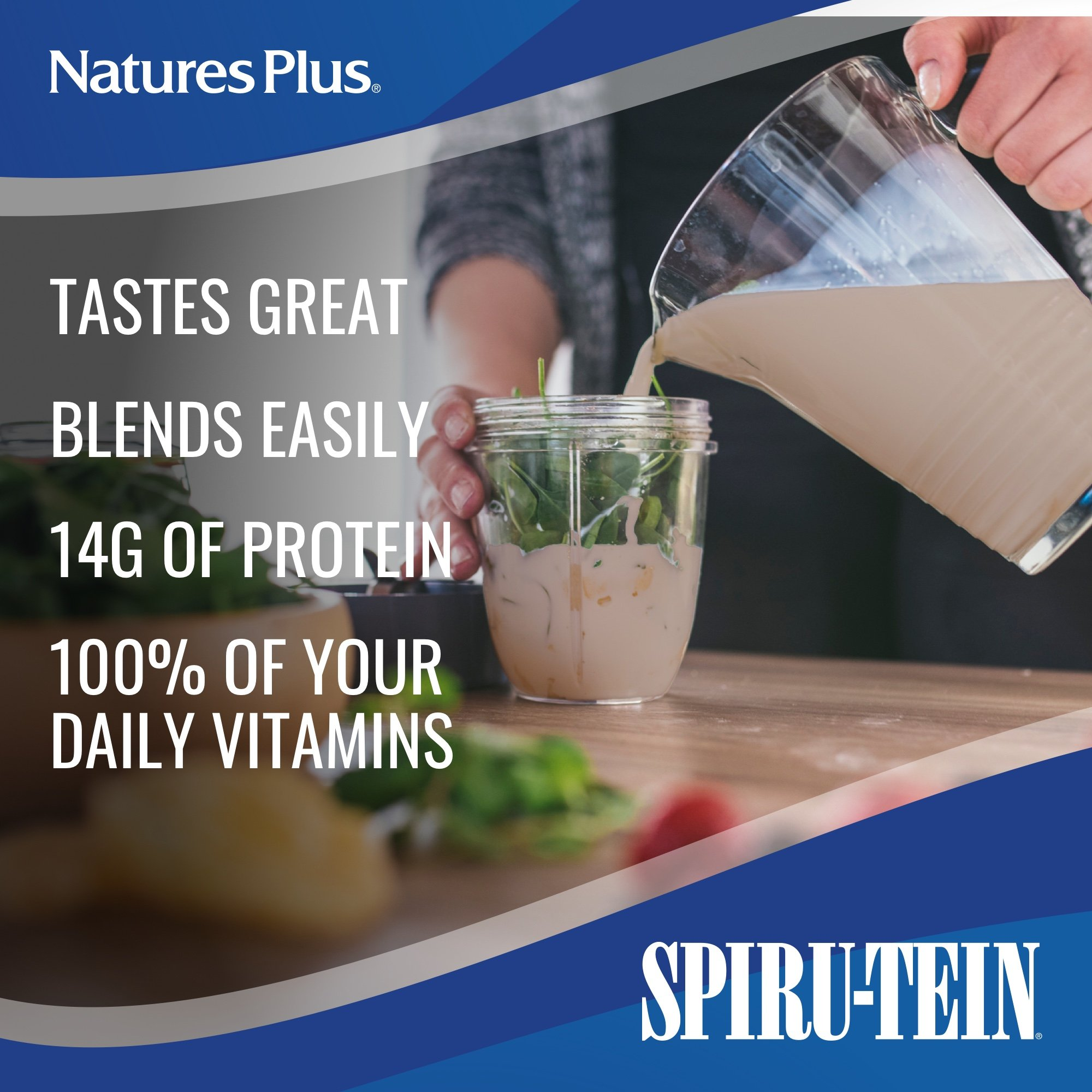 NaturesPlus SPIRU-TEIN Shake - Chocolate - 5 lbs, Spirulina Protein Powder - Plant Based Meal Replacement, Vitamins & Minerals For Energy - Vegetarian, Gluten-Free - 81 Servings by Nature's Plus (Image #4)
