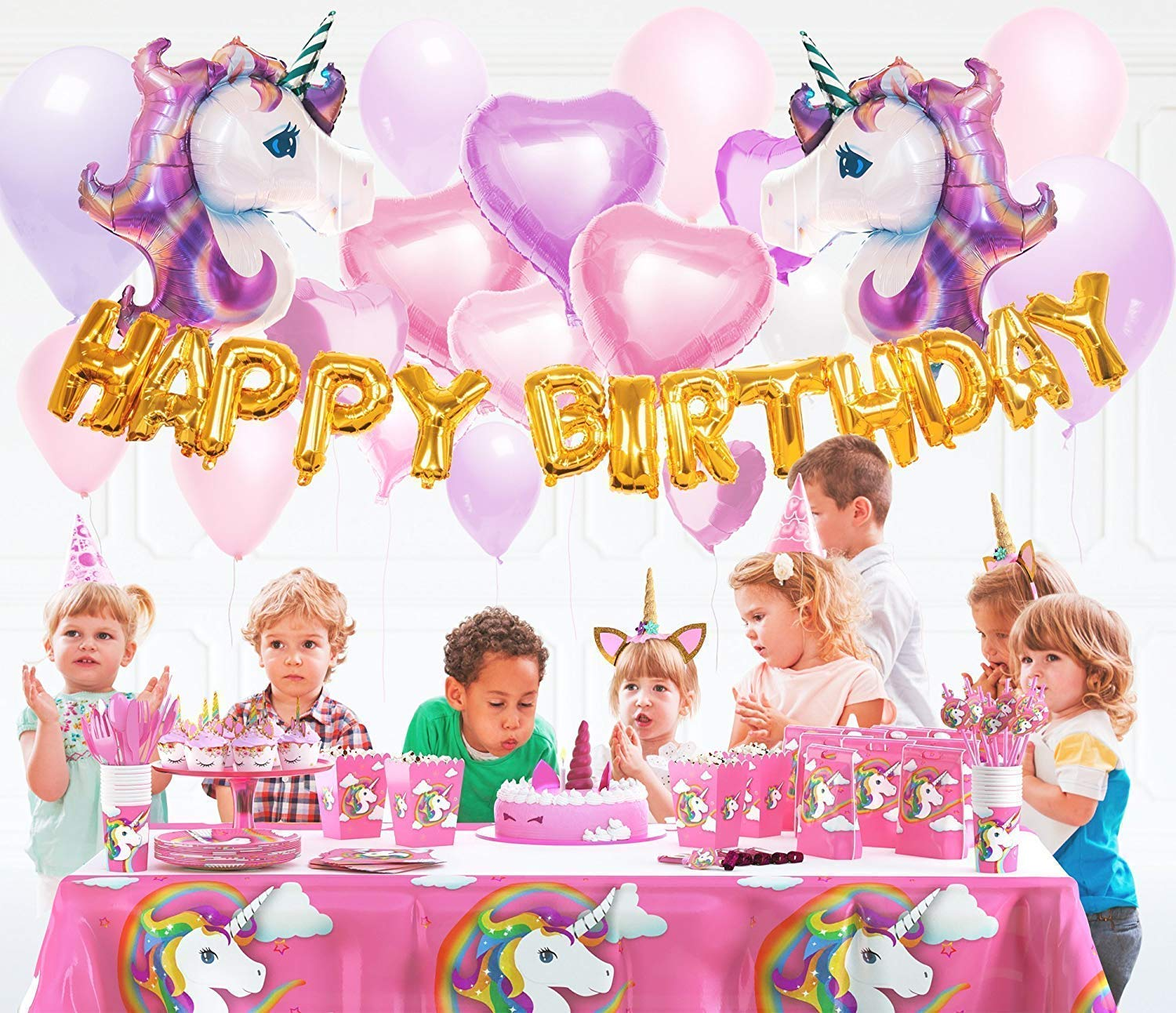 Unicorn Party Supplies- Cake Topper + Cupcake Wrappers | Headband | Party Plates Set for Kids | 32 Balloons | Tattoos… 9