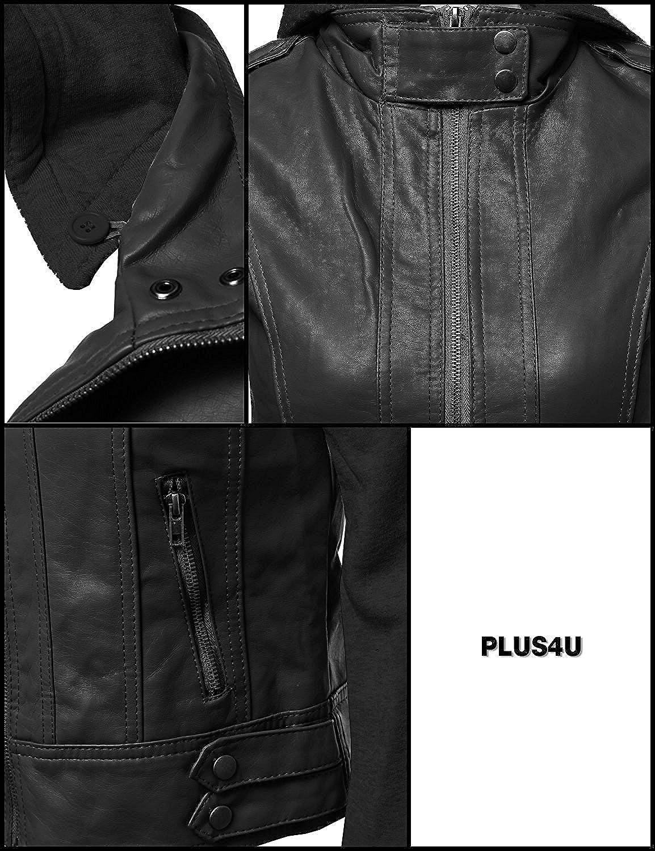 BABUBALA Stylish;pretty Womens Faux Leather Fleece Contrast Detachable Hooded Jacket