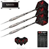 Red Dragon Element6 G: 28g - 90% Dardos de Acero con Plumas, eje de dardos, billetera & Red Dragon gratis naipe