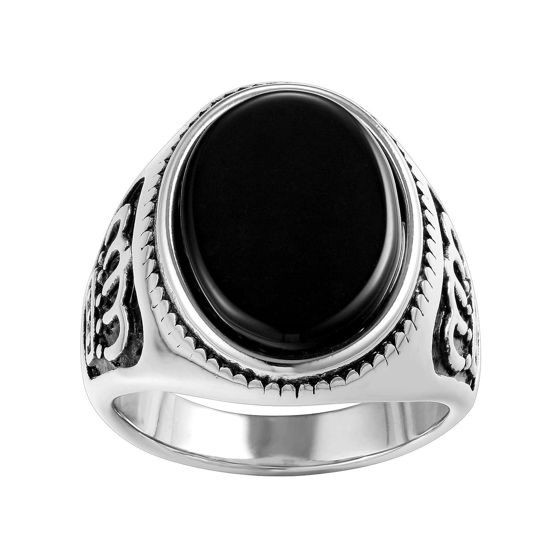Uomini in acciaio inox Karisma 316L argento corona signore anello–Agate Agata Nera Pietra–rhc107