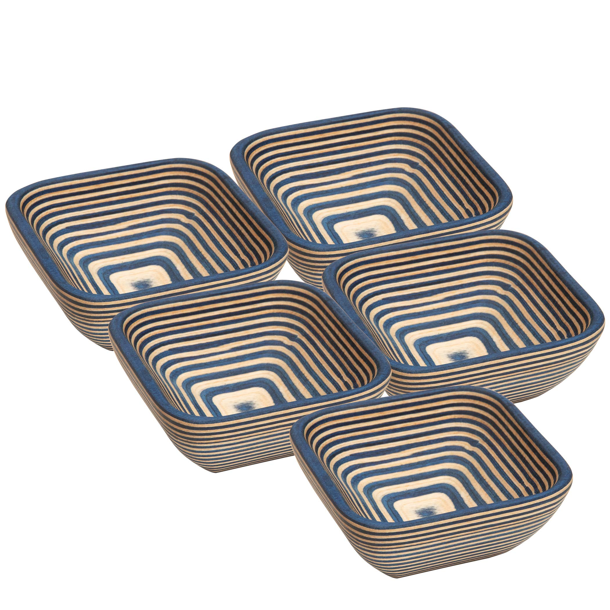 Exotic PakkaWood Condiment Bowls Set - 5 Stacking Square Bowls for Condiments, Snacks, and More by Crate Collective (Cobalt)