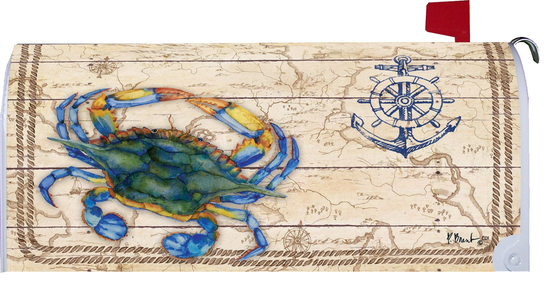 Coastal Crab - Mailbox Makover Cover - Vinyl witn Magnetic Strips for Steel Standard Rural Mailbox - Copyright, Licensed and Trademarked by Custom Decor Inc.