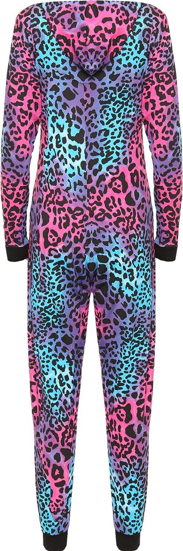 WearAll Womens Print Onesie Ladies Playsuit Long Hooded Jumpsuit