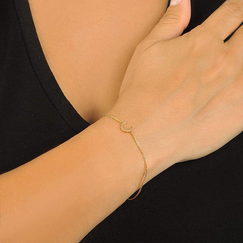 Crescent pendant bracelet national wind bracelet micro-set blue diamond bracelet cow horn moon bracelet hand-woven hand rope