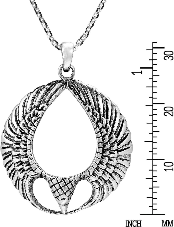 AeraVida Triumphant Eagle Wings .925 Sterling Silver Pendant Necklace