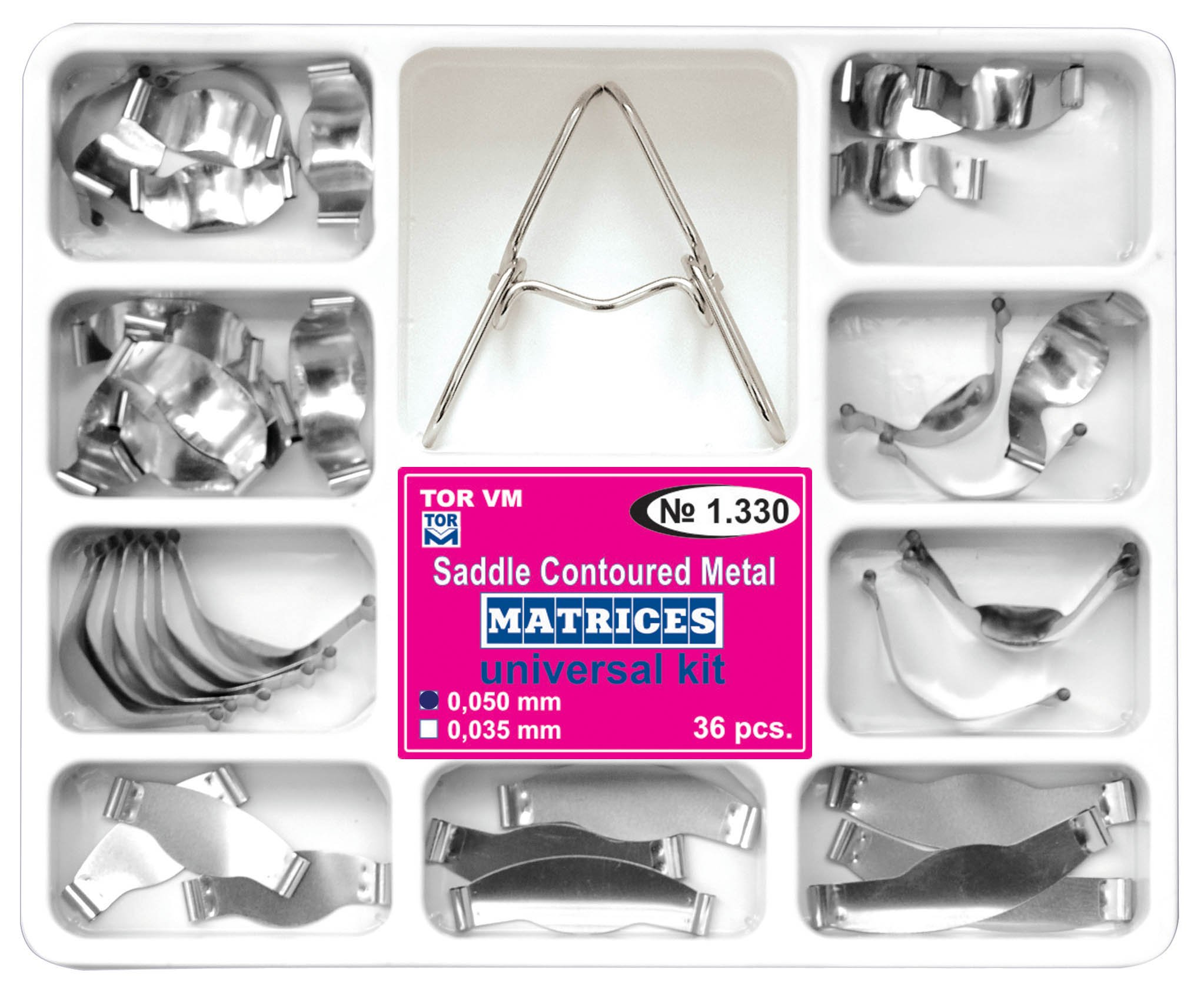 Dental Saddle Contoured Metal Matrices Matrix Universal Kit with Springclip 36 pcs/pack by Tor VM