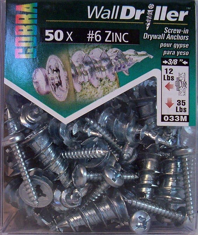 6 In. Zinc Cobra Anchors 034R Wall Driller Screw
