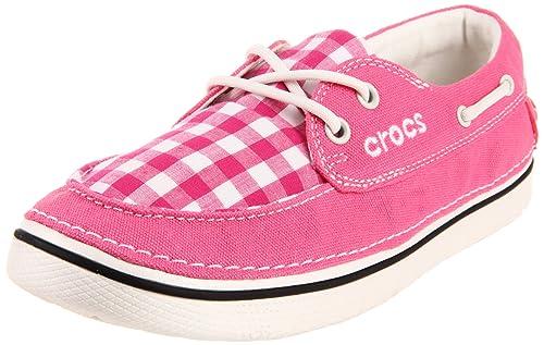 Crocs - Zapatillas para Mujer Hover Boat Gingham, Rosado (Hot Pink/Oyster), 4 B(M) US: Amazon.es: Zapatos y complementos