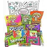 Geschenkkorb mit saure amerikanische süßigkeiten | Super Saures Geschenkset aus den USA | Auswahl beinhaltet Warheads Extreme, Sour Jelly Beans, Skittles Sour | 17 Produkte in tollen Geschenkebox