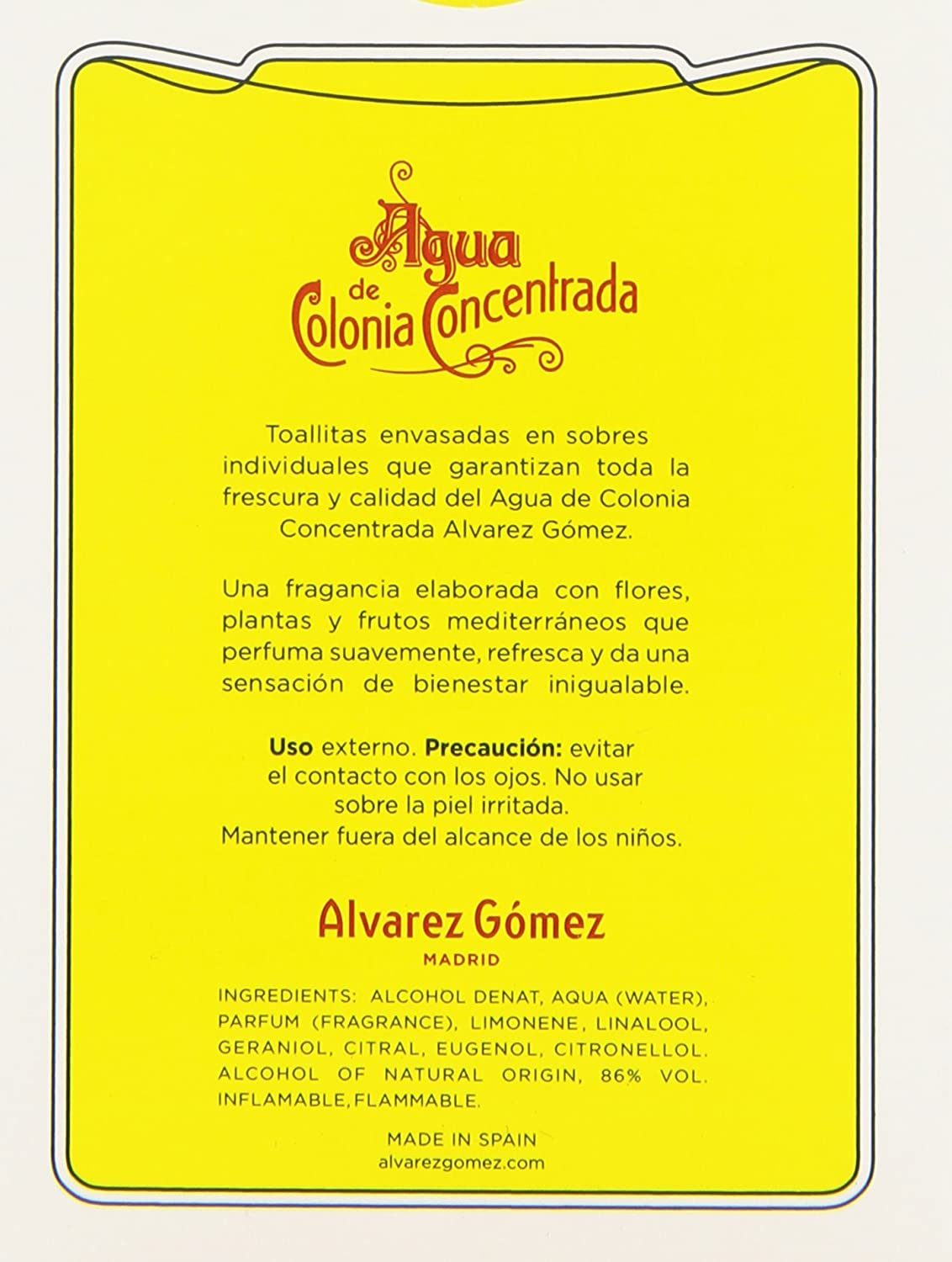 Amazon.com : Alvarez Gomez Agua De Colonia Concentrada for Men Perfumed Towelettes, 1.0 Ounce : Beauty