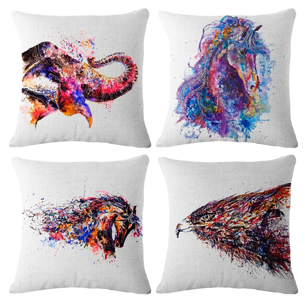 Throw Pillow Covers Decorative Pillowcases 18x18inch (4 pieces set) Pillow Cases Home Car Decorative (Oil painting-Animal)