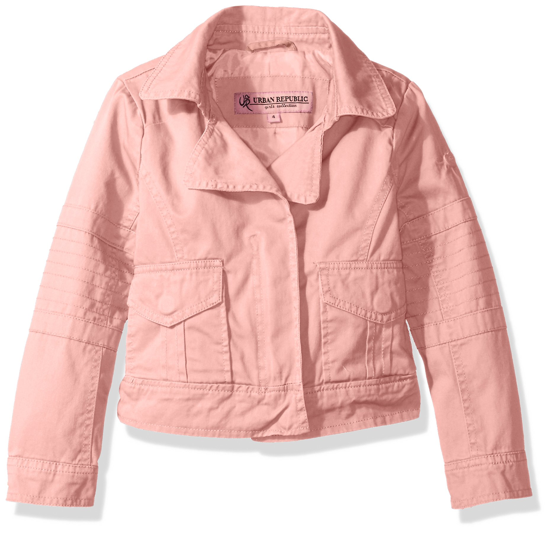 Urban Republic Toddler Girls' Cotton Twill Moto Jacket, Powder Pink, 3T