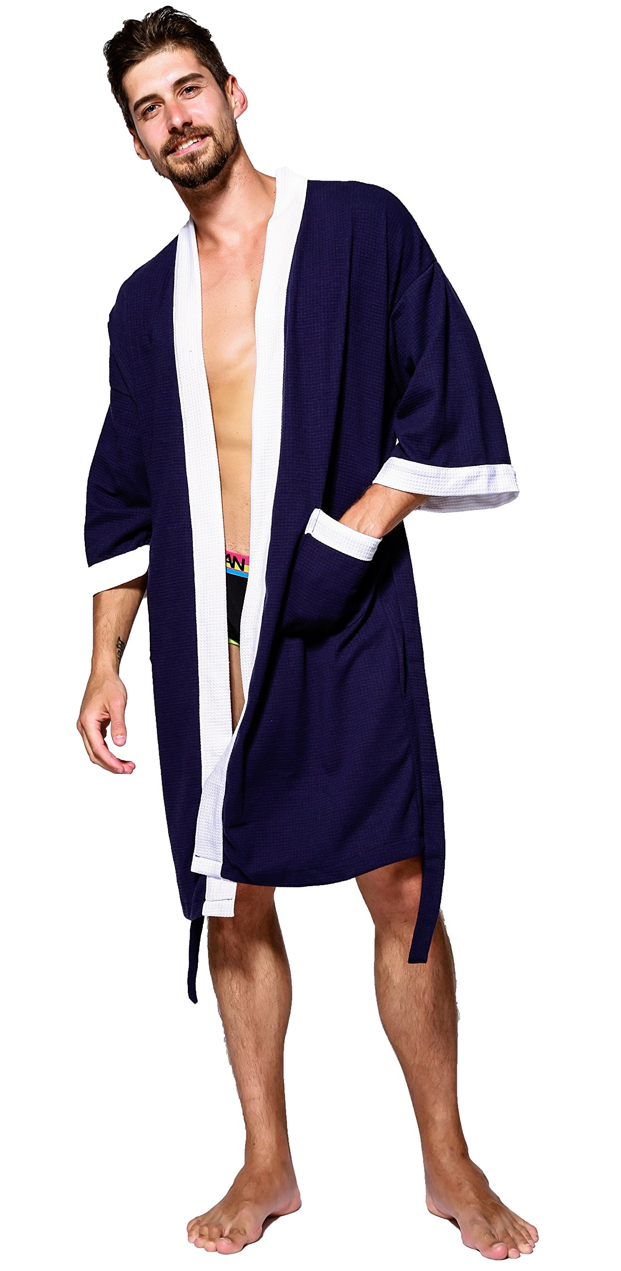 AIKEN Mens Robe Lightweight Summer Cotton Short Kimono Bathrobe Spa Waffle Bath Rob Knee Length Sleepwear Soft Robes with Pockets for Men Size XL