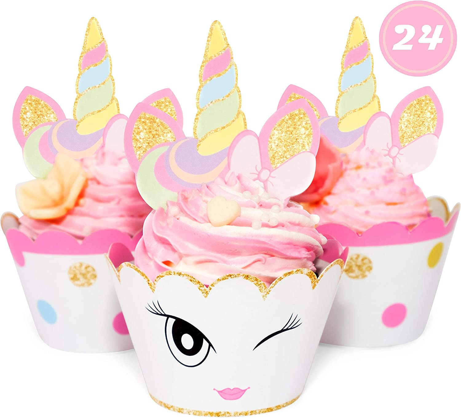 Unicorn Glitter Cupcake Toppers + Wrappers - Set of 24 by Just For Fun Shop | Girls Birthday Party Supplies - Rainbow and Gold Glitter Decorations | Cute favors for Baby Shower