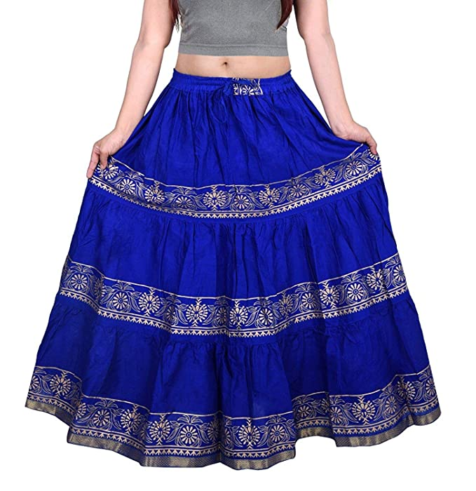0223683706 P P PRINTS Women's Cotton Long Skirt (TJBSKRT-553, Blue, Free Size ...
