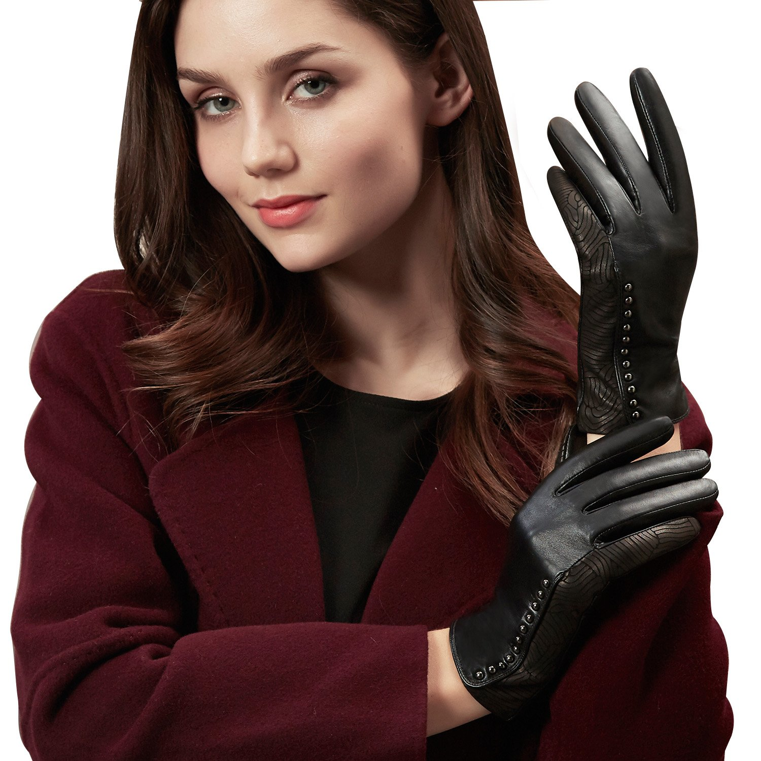 88e3b3bcf9dae GSG Womens Stylish Leather Gloves Whirlpool Patterns + Trendy Studs Black  Driving Gloves Ladies Touchscreen Gloves Warm Winter Birthday Gifts