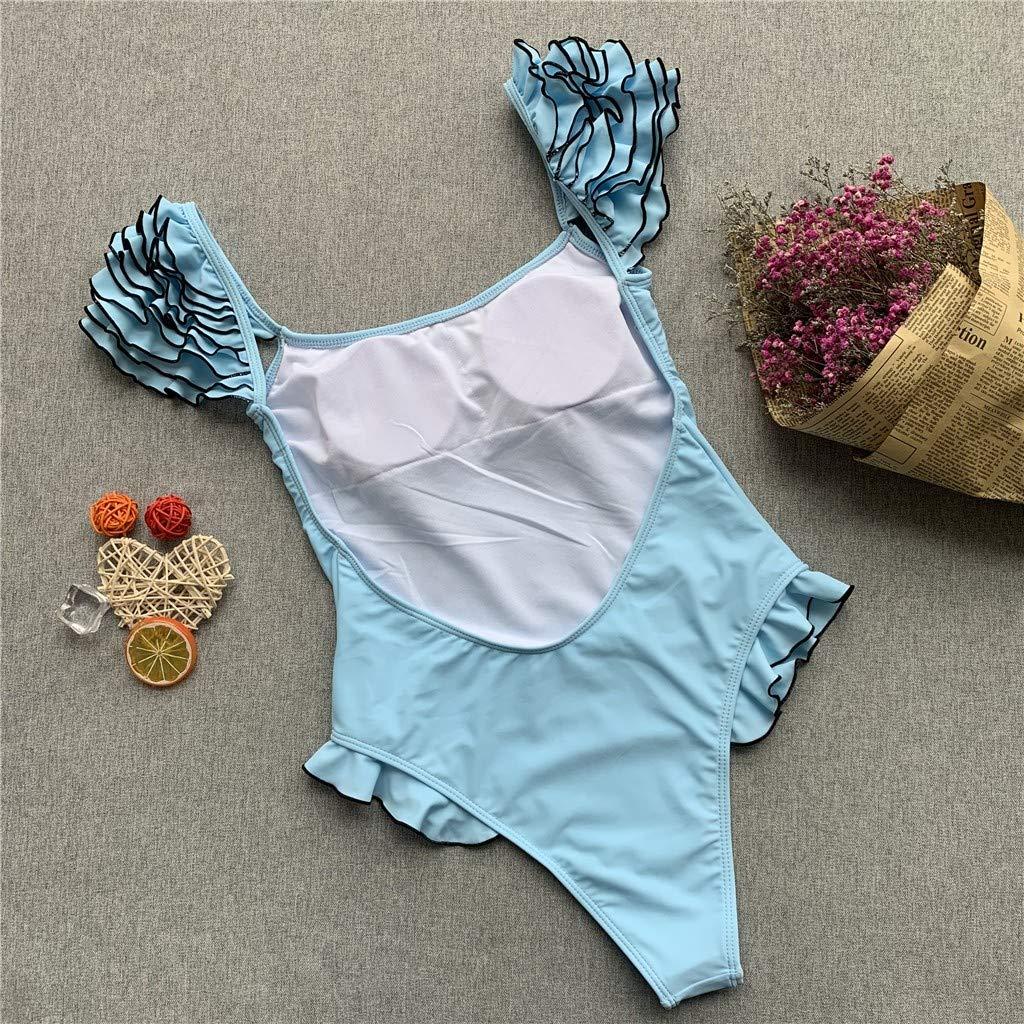 Kehen Nrew Womens Ruffled High Cut One-Piece Halter Swimsuit Padding Bathing Suits