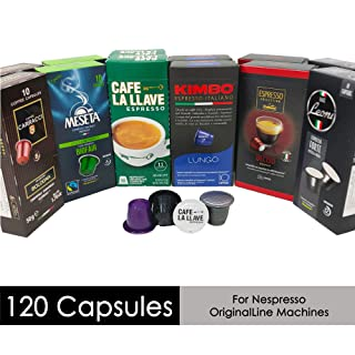 Nespresso Compatible Capsules Multi-Brand Variety Pack - Best Bundle Collection of Medium, Dark, Bold and Intenso Roasts Espresso Pods from Around the World - 120 Pack