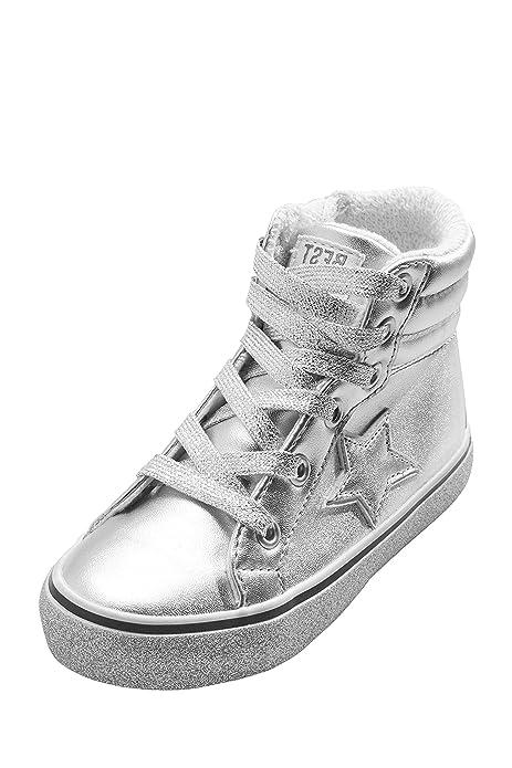 next Niñas Zapatillas De Caña Alta Estilo Retro (Niña Pequeña) Plateado EU 21.5: Amazon.es: Zapatos y complementos