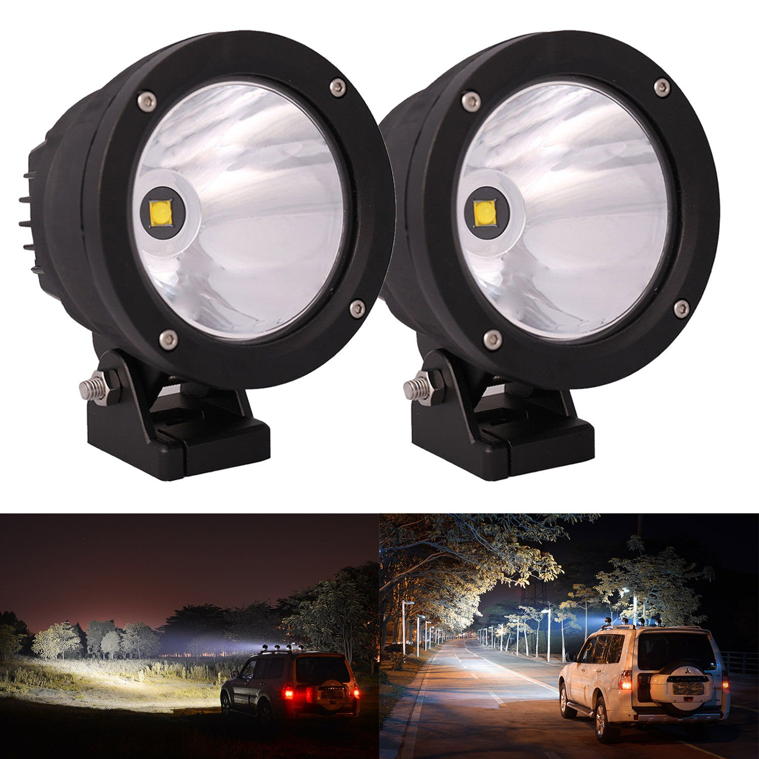 2pcs 25w 4 Inch 5 2500lm Led Cannon Light Round Spot Details About Flood Work Driving Wiring Button On Off Spotlight Lamp Cree Narrow Jeep Polaris Suv 4wd Road Truck Atv Utv