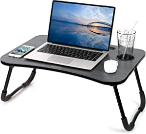 Laptop Desk Foldable Laptop Table Portable Laptop Bed Tray Table Notebook Stand Reading Holder with The Cup Slot for Eating Breakfast,Reading,Watching Movie on Bed/Couch (Black Gold Stripes)