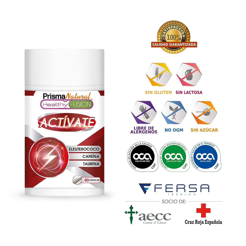 ACTÍVATE - CAFEÍNA + TAURINA + ELEUTEROCOCO | Potente estimulante energético | Elimina la fatiga y Mejora la resistencia Física y la Concentración | Mejora ...