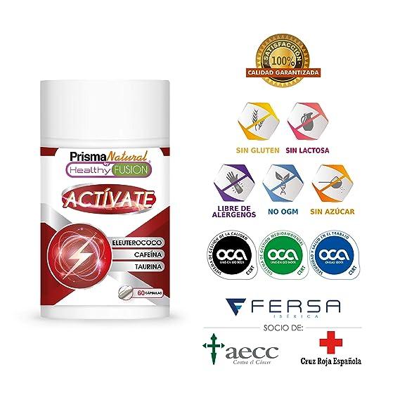 ACTÍVATE – CAFEÍNA + TAURINA + ELEUTEROCOCO | Potente estimulante energético | Elimina la fatiga y Mejora la resistencia Física y la ...