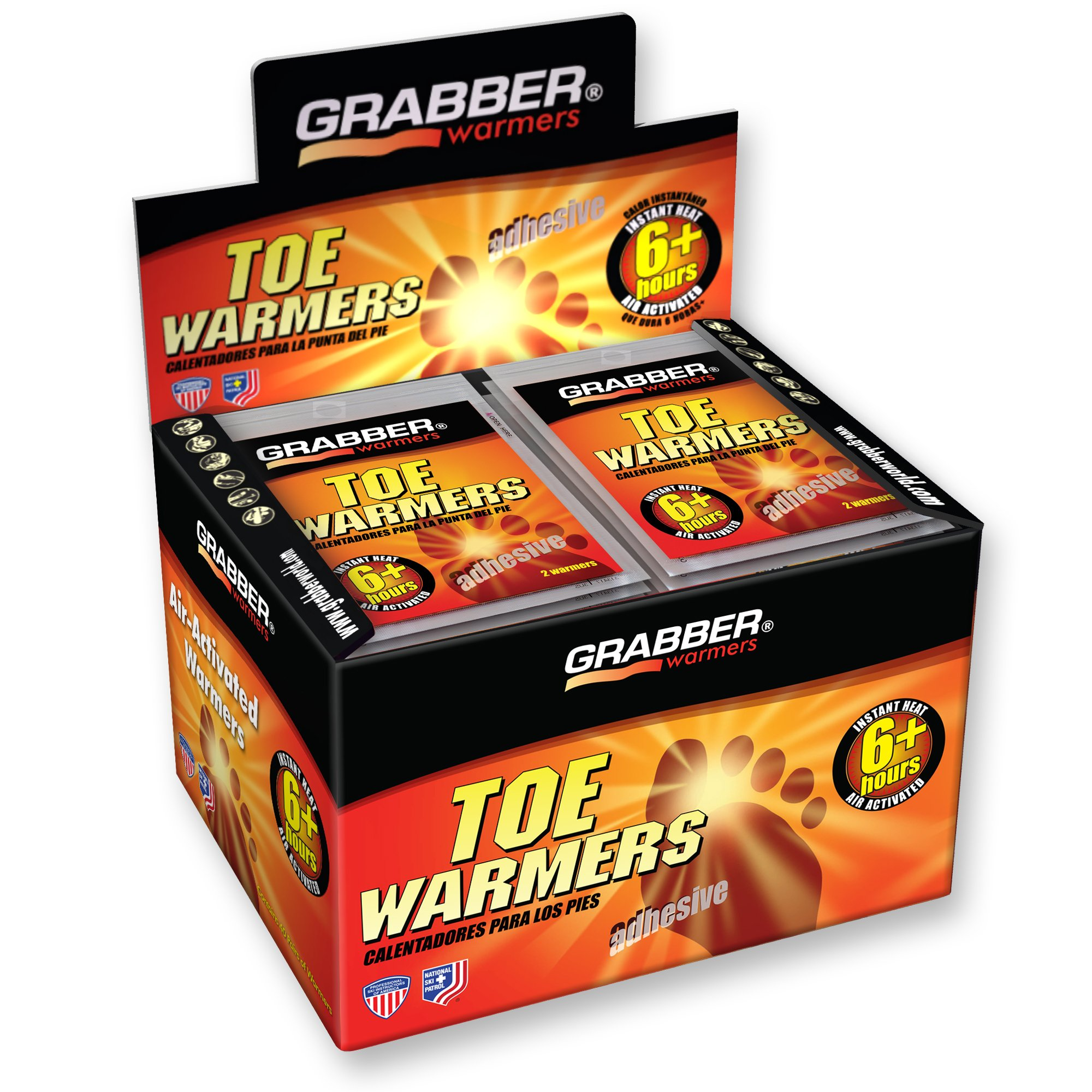 Grabber Toe Hand Warmers - Long Lasting Safe Natural Odorless Air Activated Warmers - Up to 6 Hours of Heat - 40 Pair