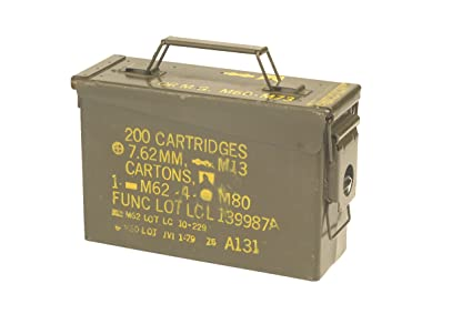 US ARMY OLIVE SMALL METAL AMMO BOX USED MILITARY SURPLUS  Amazon.co ... 3bd4e163421