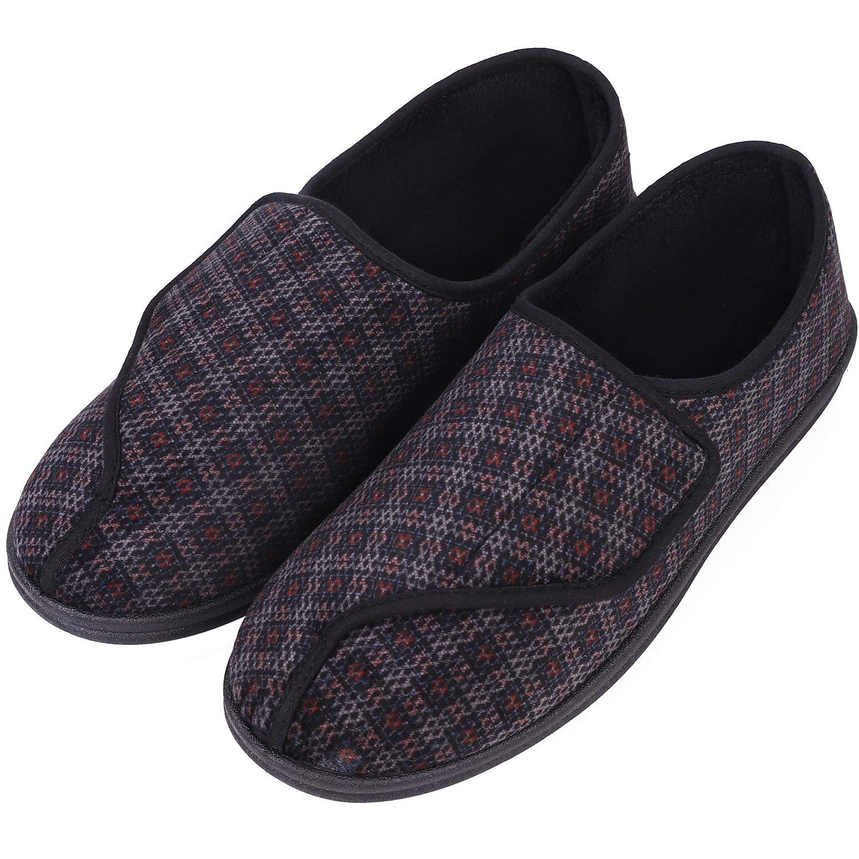 LongBay Men's Fleece Memory Foam Diabetic Slippers Comfy Cozy Adjustable Arthritis Edema House Shoes (12 D(M) US, Gray Pattern)