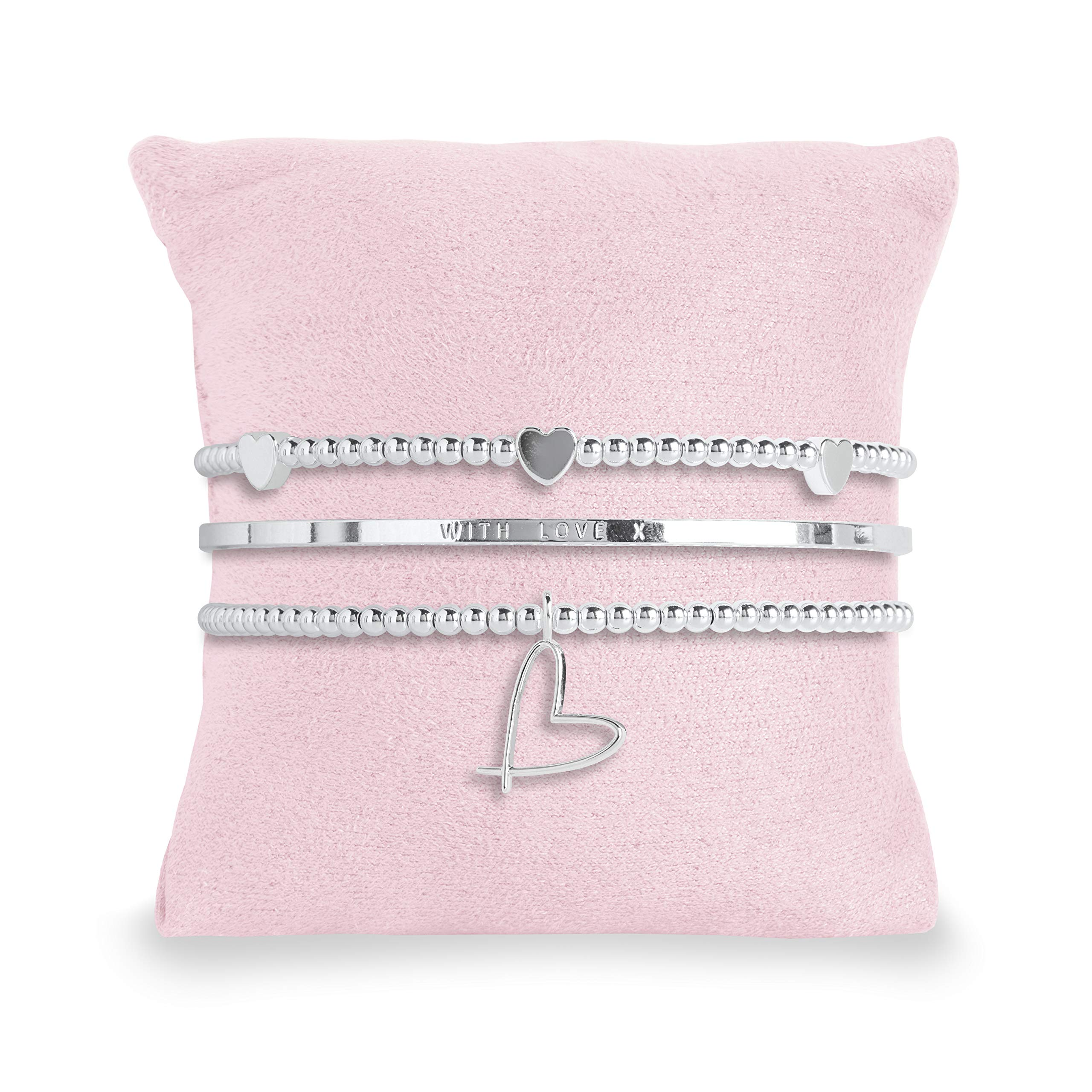 Katie Loxton - Occasion Gift Box - with Love - 3 Silver Stacking Bracelets