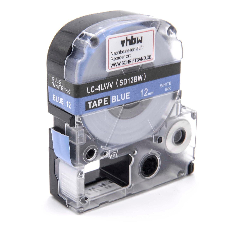 vhbw Cartouche Cassette à Ruban 12mm pour Epson LW-700, LW-300, LW-400, LW-500, LW-900P, OK200, OK300, OK500P, OK720, OK900P comme LC-4LWV, SD12BW. VHBW4251258816639