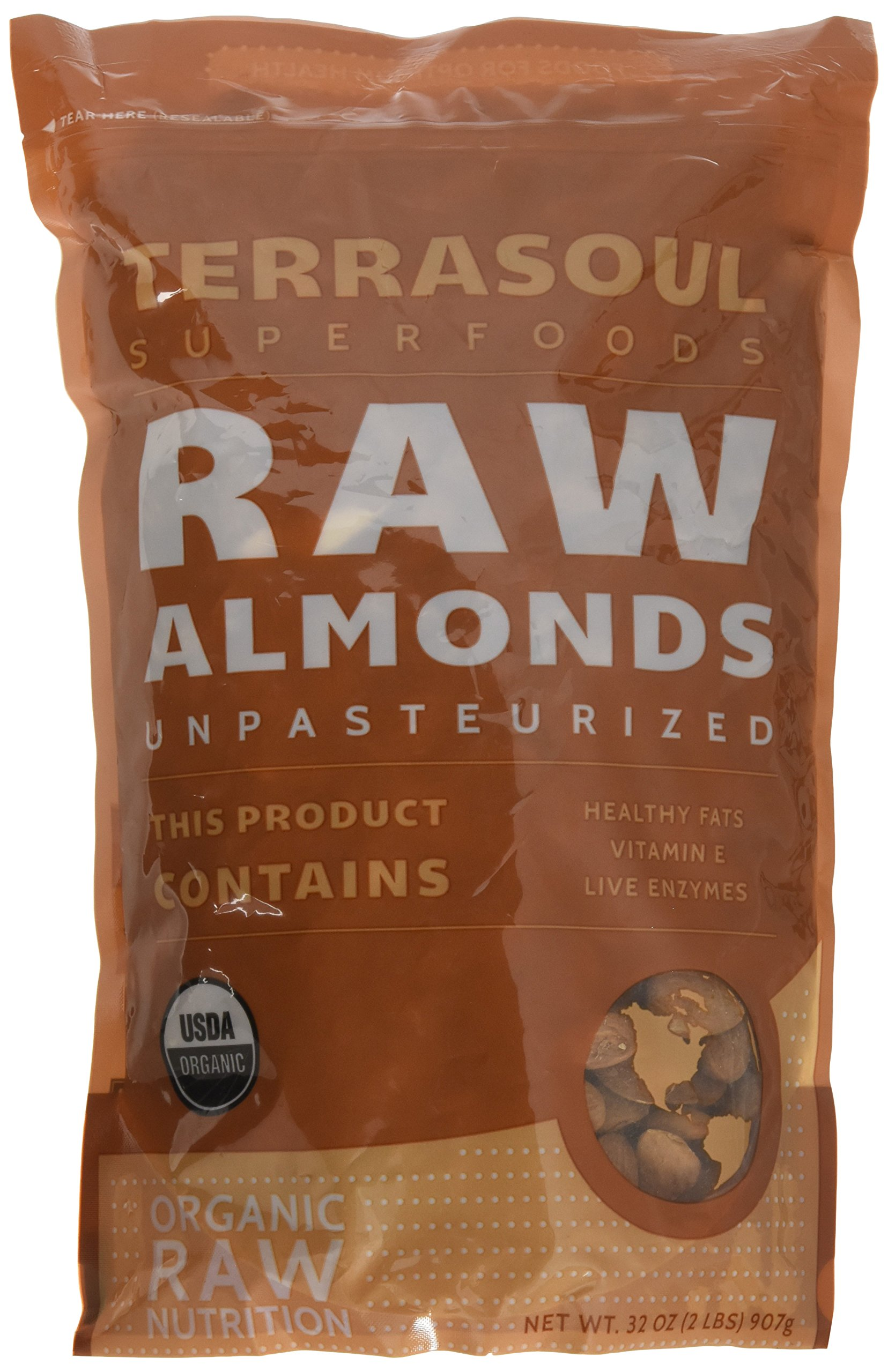 Terrasoul Superfoods Raw Unpasteurized Organic Almonds (Sproutable), 2 lbs