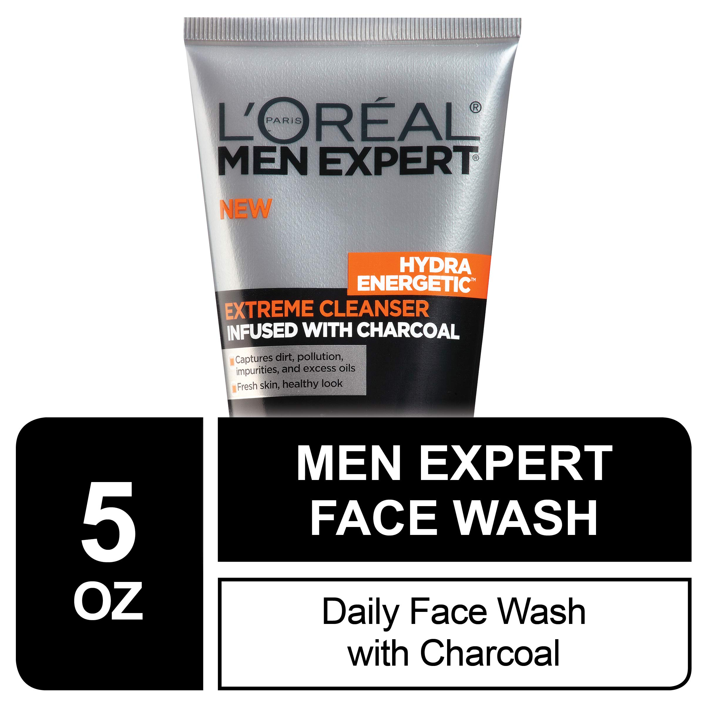 L'Oreal Men Expert Hydra Energetic Facial Cleanser with Charcoal for Daily Face Washing, Mens Face Wash, Beard and Skincare for Men, 5 fl. Oz