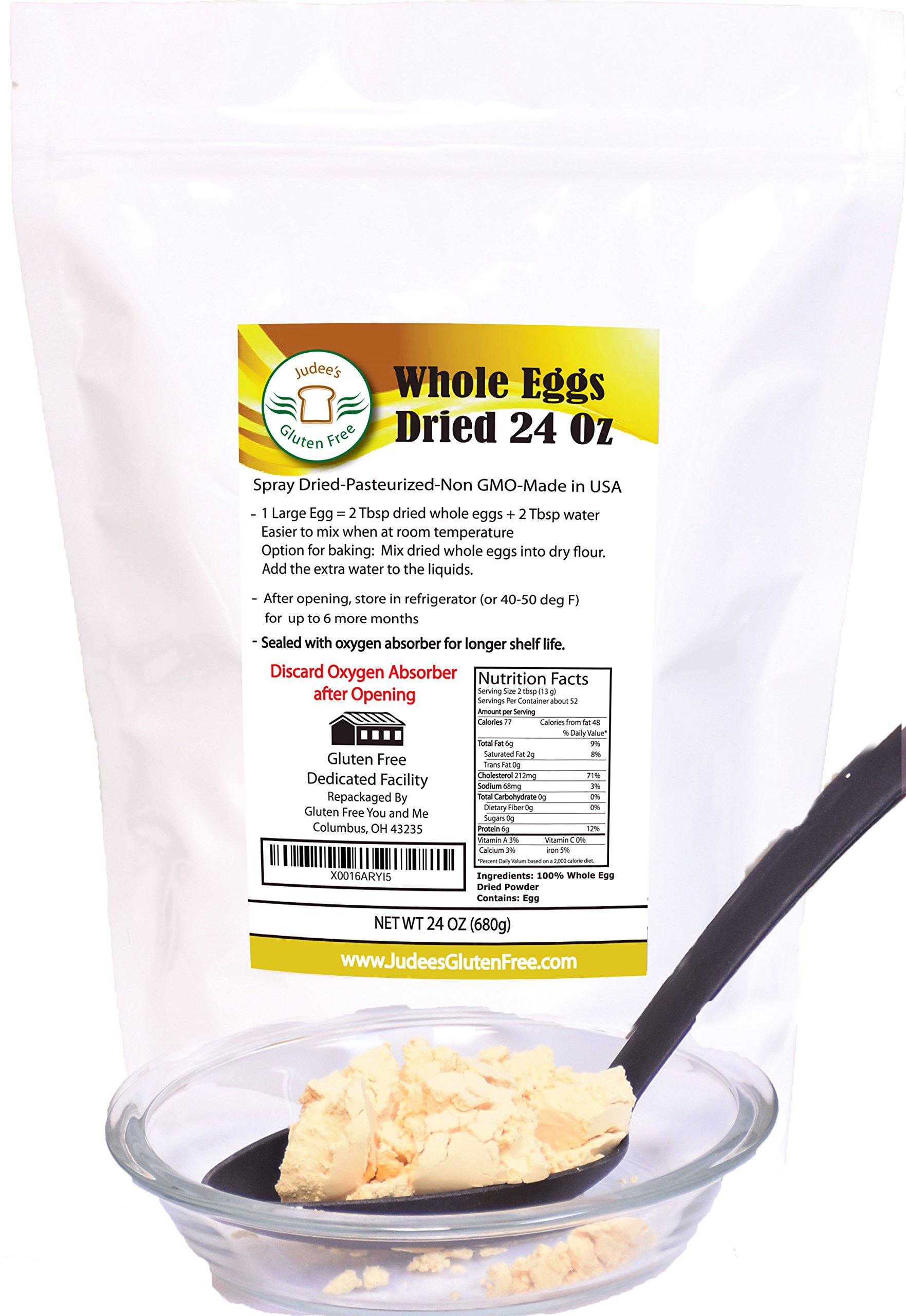 24 OZ (1.5 lb) Whole Egg Powder (Non-GMO, Pasteurized, Made in USA, 1 Ingredient no additives, Produced from the Freshest of Eggs)(50 lb Bulk Size Available)