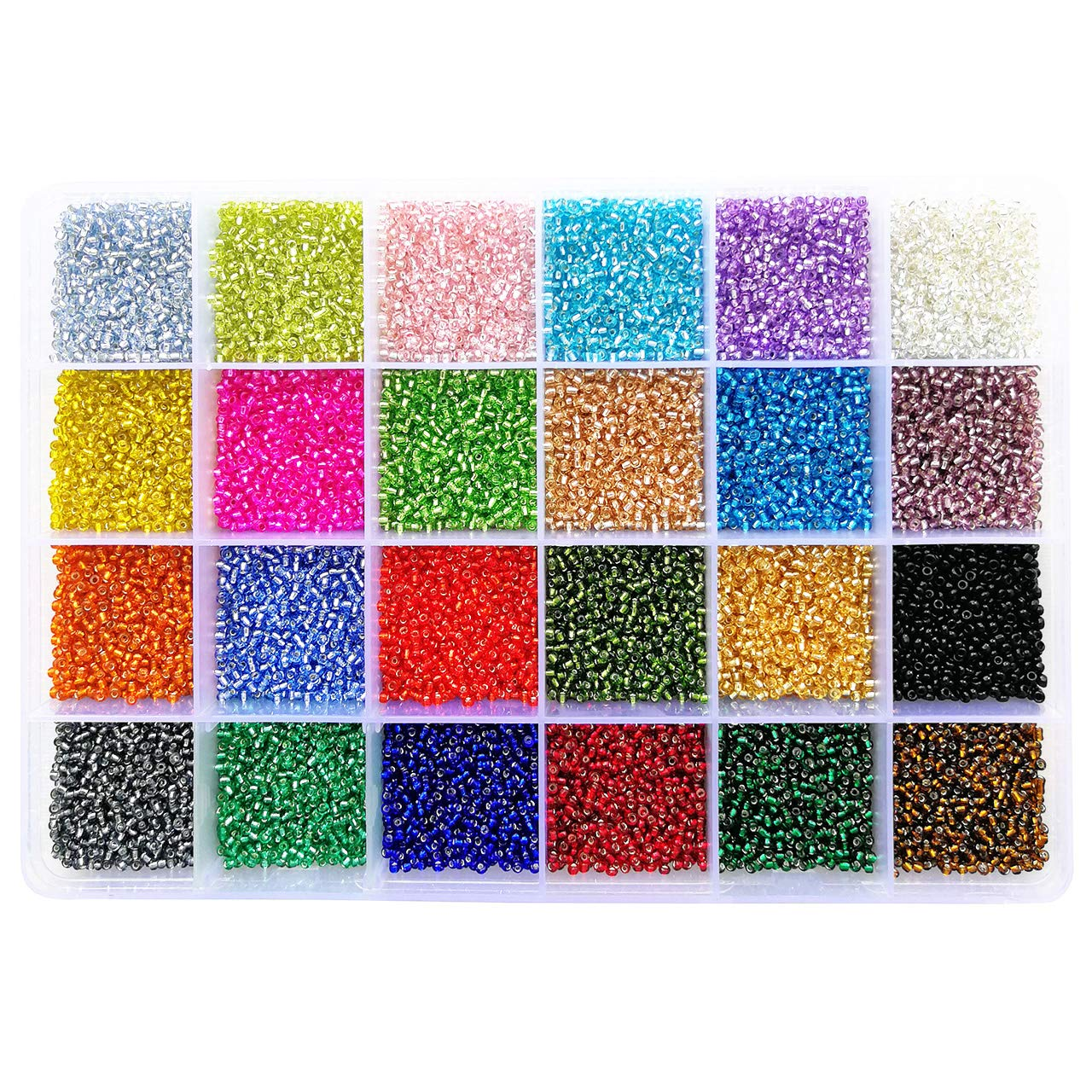 PandaHall Elite 12 Boxes of About 2040 Pcs 6//0 Multicolor Beading Glass Seed Beads12 Colors Silver Lined Round Pony Bead Mini Spacer Beads Diameter 4mm with Container Box for Jewelry Making