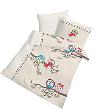 Eule Fein Biber Baby Kinder Bettwäsche Cool Owl Winter Spaß