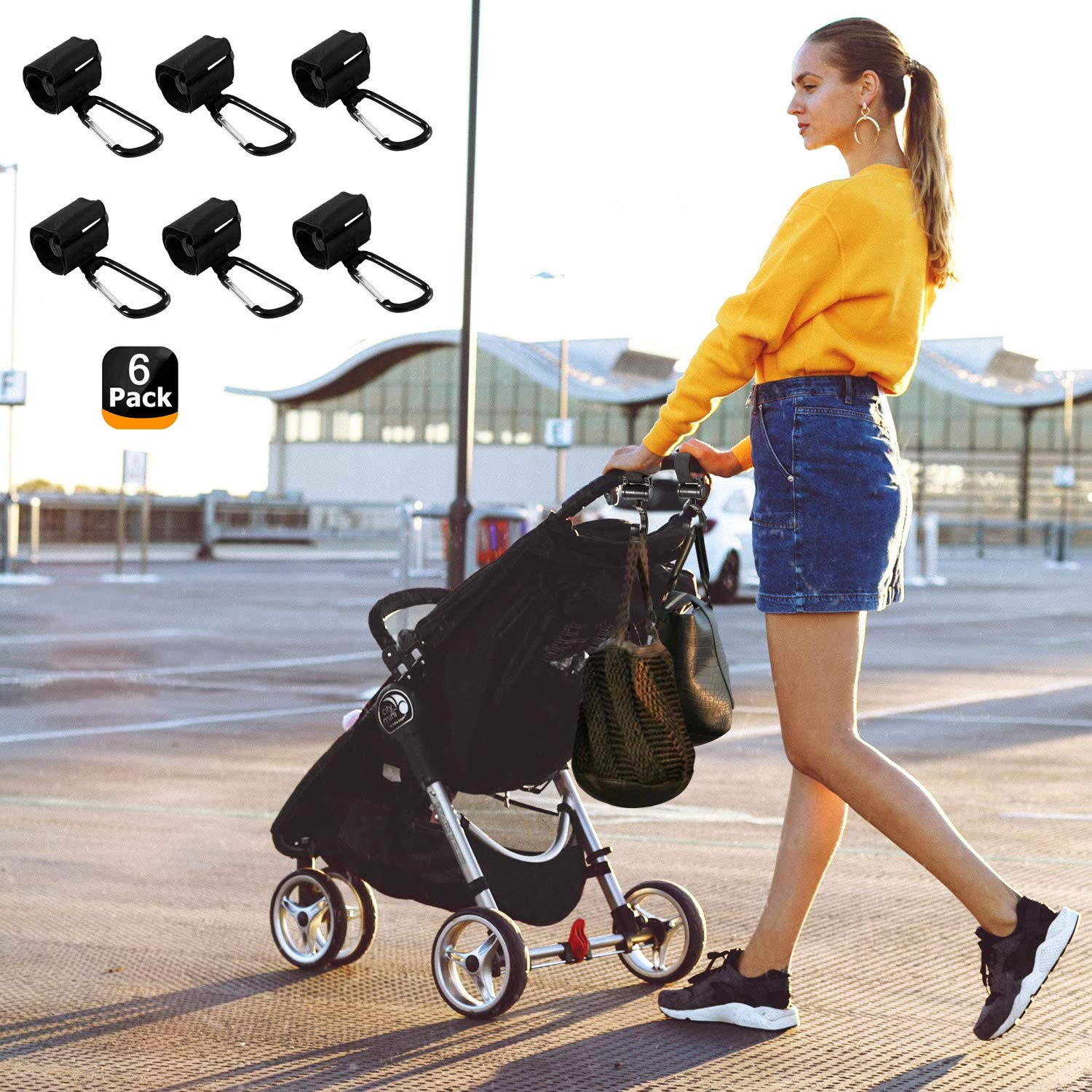 Groceries Clothing 2-PCS HIG Stroller Hooks Hanger for Baby Diaper Bags Purse 4 Pack of Baby Stroller Organizer Hook Clip for Multi-Purpose