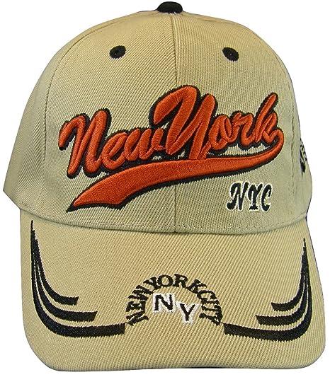 ba1113ecbc4 New York City NY Adult Size Curved Brim Adjustable Baseball Cap (Khaki)