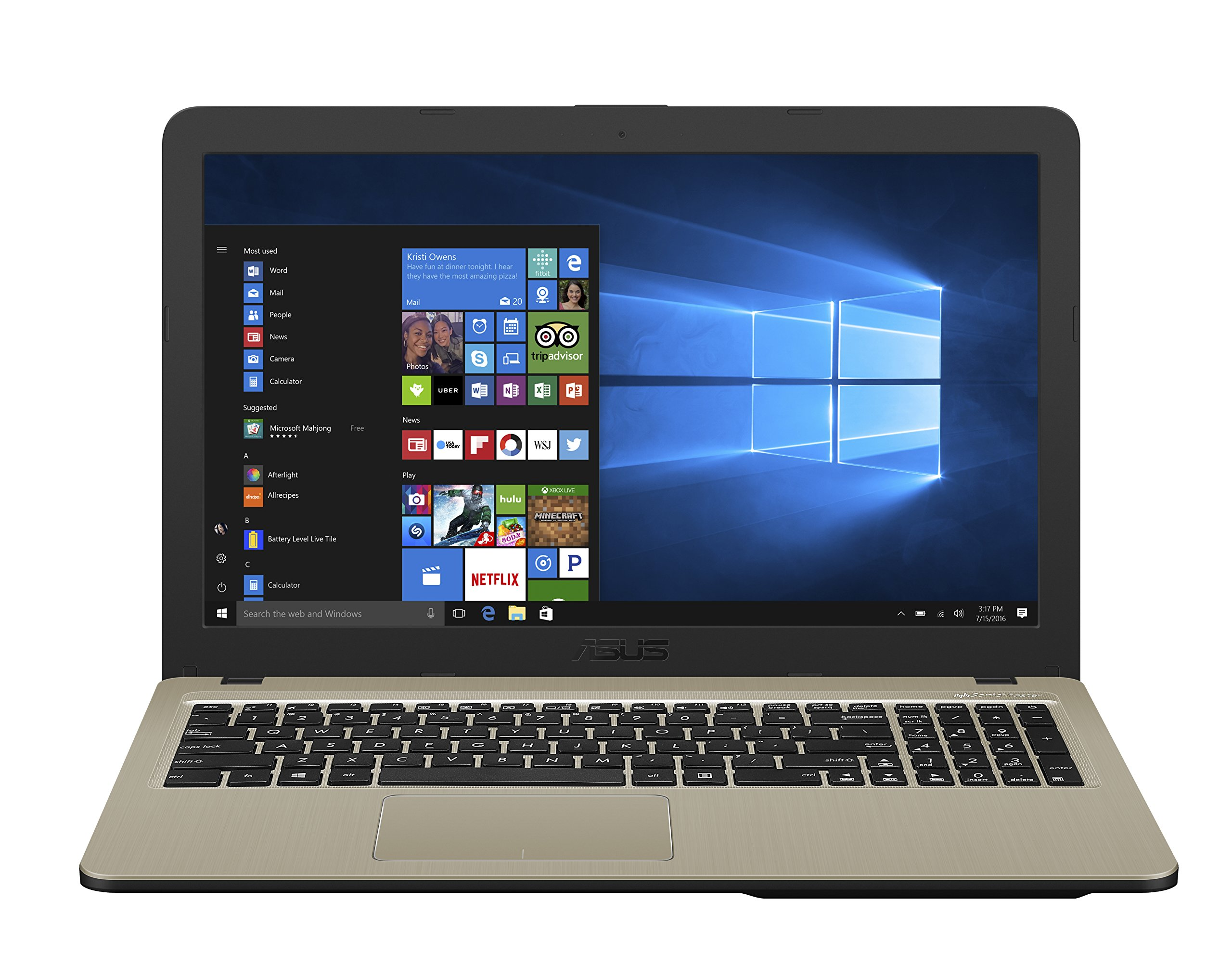 "ASUS Laptop X540YA-DB02, AMD Quad-Core E2-6110 Processor (up to 1.5GHz) with AMD Radeon R2 Graphics, 4GB DDR4 RAM, 500GB HDD, 15.6"" HD, Micro SD Card Reader, Windows 10 1"