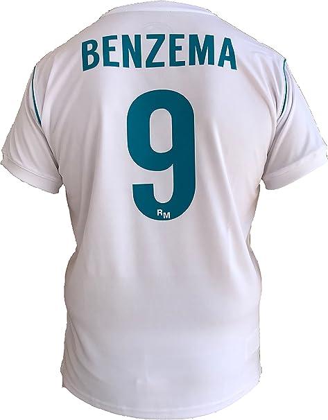 Rogers SL - REAL MADRID Camiseta Jersey Futbol Karim Benzema 9 Replica Autorizado 2017-2018 Niños (2,4,6,8,10,12,14 año) Adultos (Small, Medium, Large, Xlarge, Xxlarge) (Talla 12 Años): Amazon.es: Deportes y aire libre