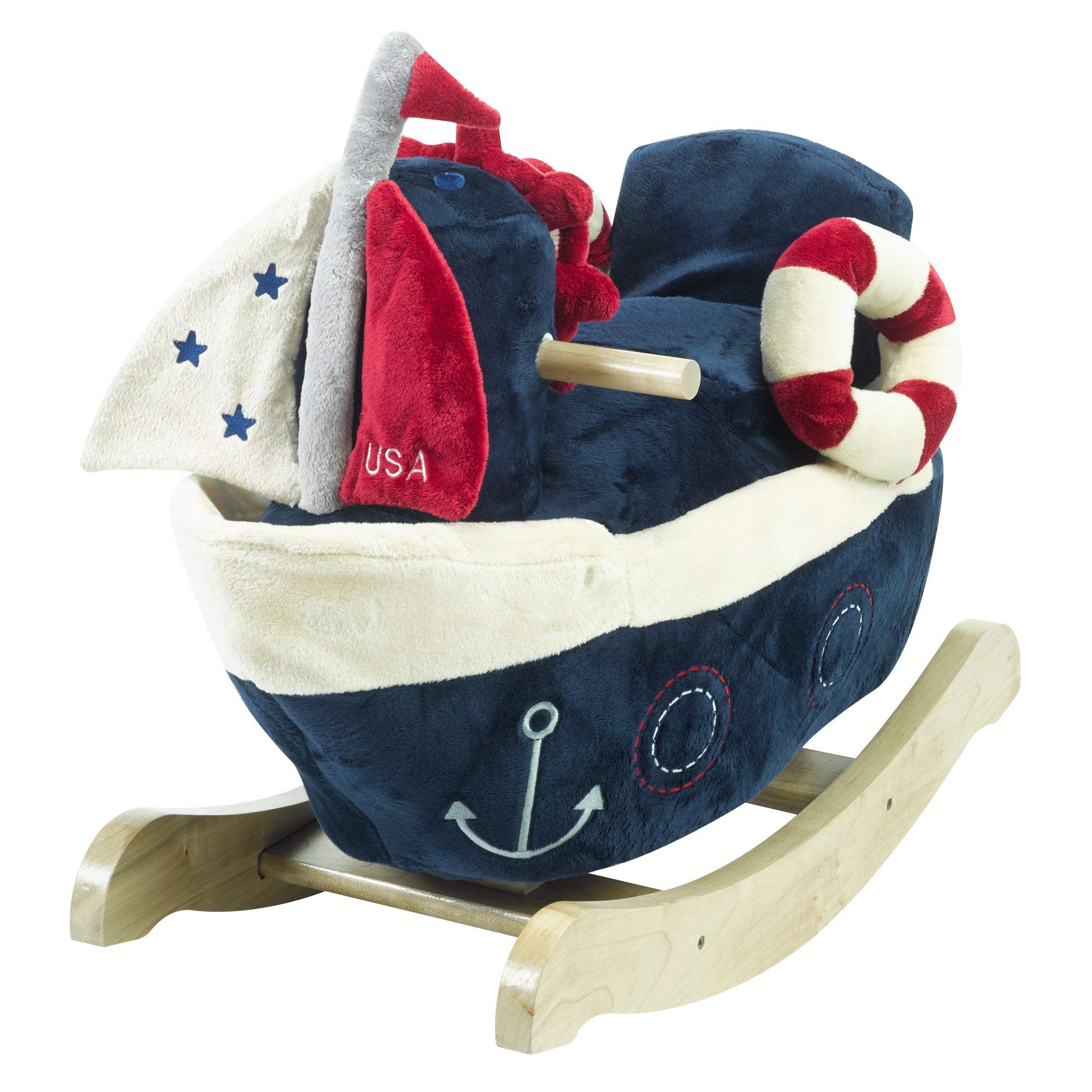America The Sailboat Play and Rock | Horse Plush Butterfly Baby Toy with Wooden Rocking Chiar Horse/Kid Rocking Toy/Baby Rocking Horse/Rocker/Animal Ride
