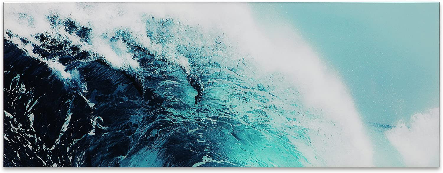 Empire Art Direct Blue Wave 1 Frameless Free Floating Tempered Glass Panel Graphic Teal Sea Wall Art, 63