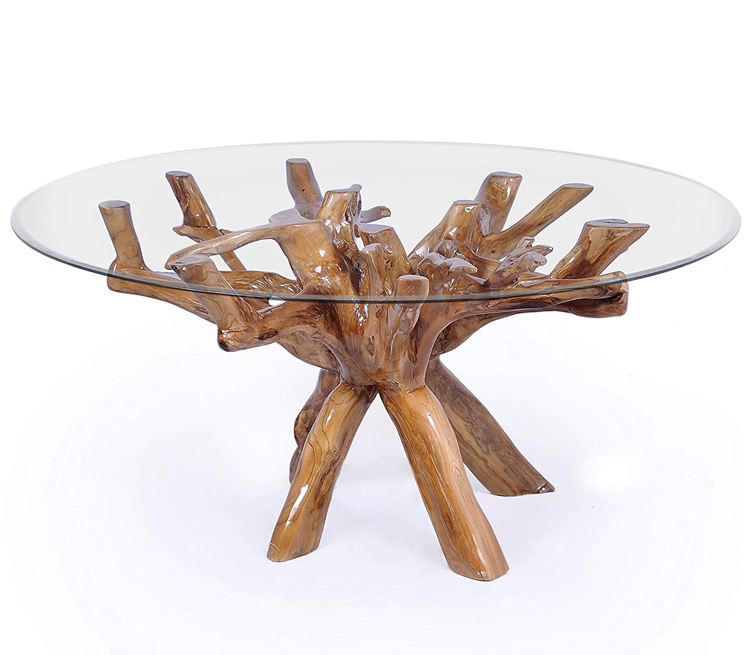 Teak Root Dining Table Including 48 Inch Glass Top Made by Chic Teak